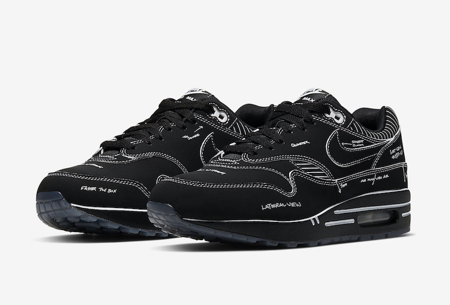 nike air max 1 tinker sketch to shelf schematic nero
